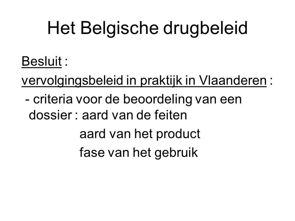 Het Belgische drugbeleid Besluit : vervolgingsbeleid in praktijk in Vlaanderen : - criteria voor de beoordeling van een dossier : aard van de feiten a