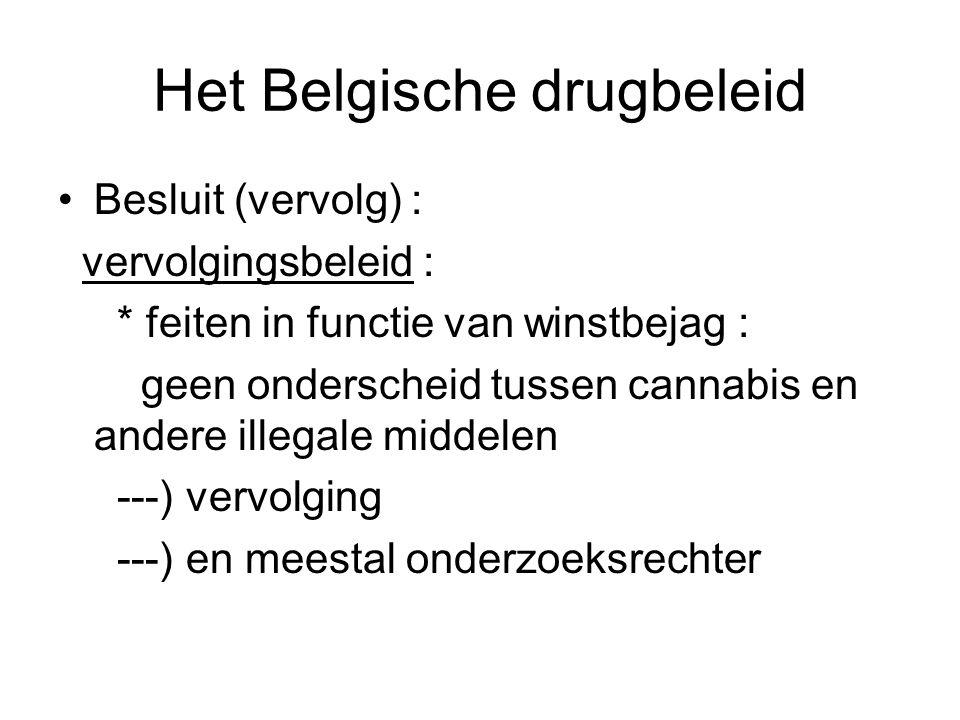 Het Belgische drugbeleid Besluit (vervolg) : vervolgingsbeleid : * feiten in functie van winstbejag : geen onderscheid tussen cannabis en andere illeg