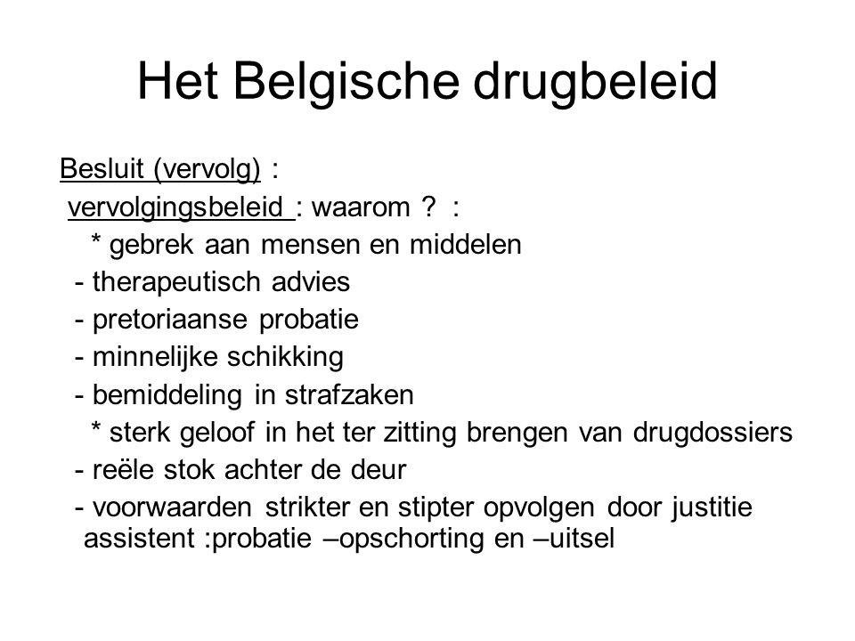 Het Belgische drugbeleid Besluit (vervolg) : vervolgingsbeleid : waarom ? : * gebrek aan mensen en middelen - therapeutisch advies - pretoriaanse prob