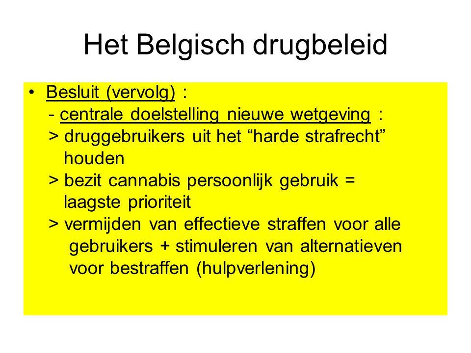 """Het Belgisch drugbeleid Besluit (vervolg) : - centrale doelstelling nieuwe wetgeving : > druggebruikers uit het """"harde strafrecht"""" houden > bezit cann"""