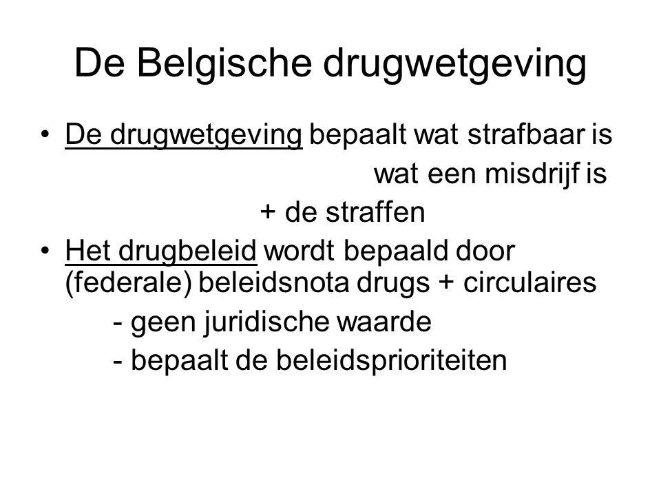 De Belgische drugwetgeving De drugwetgeving bepaalt wat strafbaar is wat een misdrijf is + de straffen Het drugbeleid wordt bepaald door (federale) be