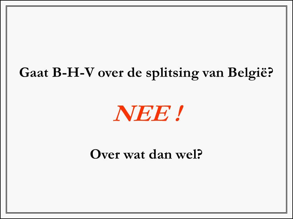 Gaat B-H-V over de splitsing van België? NEE ! Over wat dan wel?