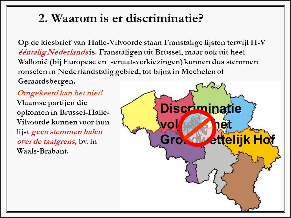 2. Waarom is er discriminatie? Op de kiesbrief van Halle-Vilvoorde staan Franstalige lijsten terwijl H-V ééntalig Nederlands is. Franstaligen uit Brus