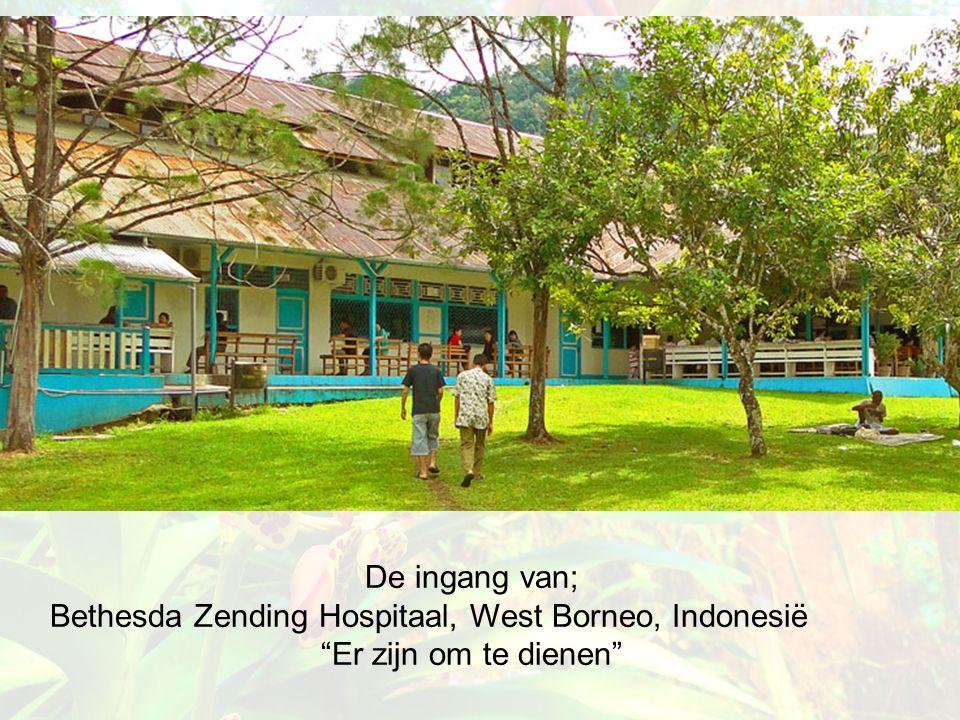 """De ingang van; Bethesda Zending Hospitaal, West Borneo, Indonesië """"Er zijn om te dienen"""""""