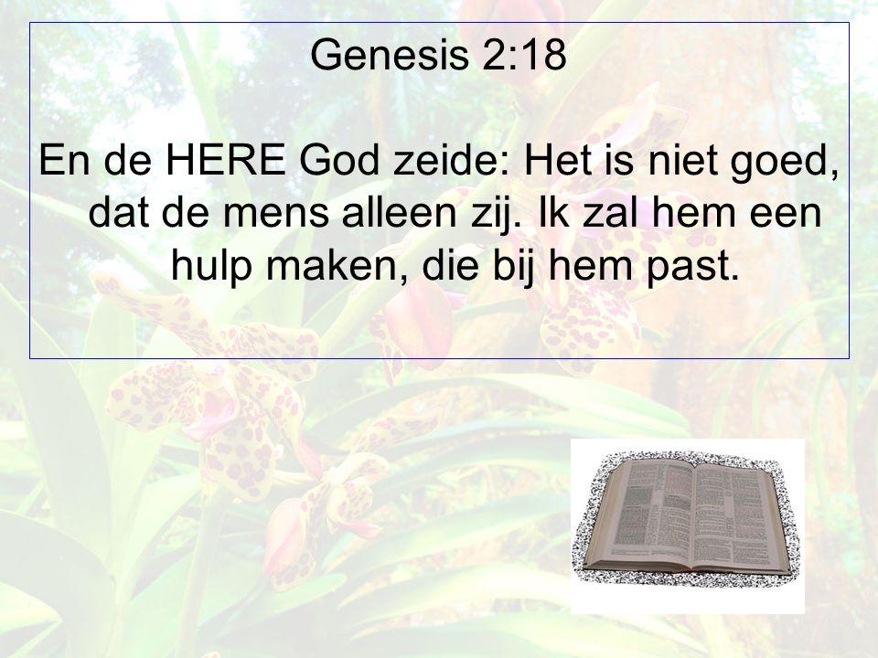 Genesis 2:18 En de HERE God zeide: Het is niet goed, dat de mens alleen zij. Ik zal hem een hulp maken, die bij hem past.