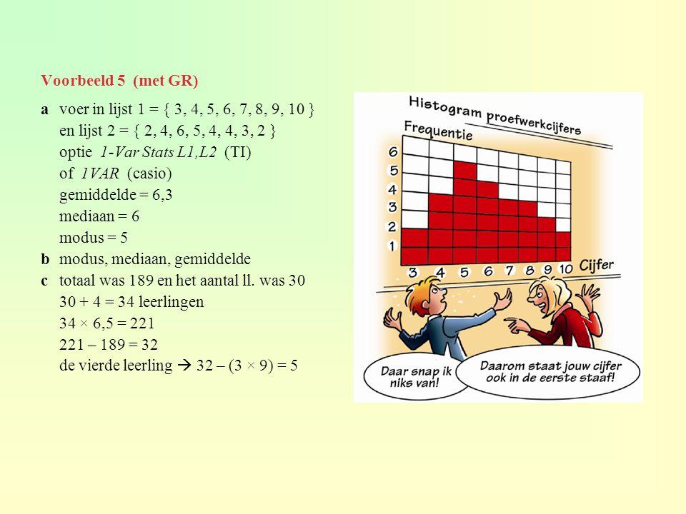 Voorbeeld 5 (met GR) avoer in lijst 1 = { 3, 4, 5, 6, 7, 8, 9, 10 } en lijst 2 = { 2, 4, 6, 5, 4, 4, 3, 2 } optie 1-Var Stats L1,L2 (TI) of 1VAR (casio) gemiddelde = 6,3 mediaan = 6 modus = 5 bmodus, mediaan, gemiddelde ctotaal was 189 en het aantal ll.