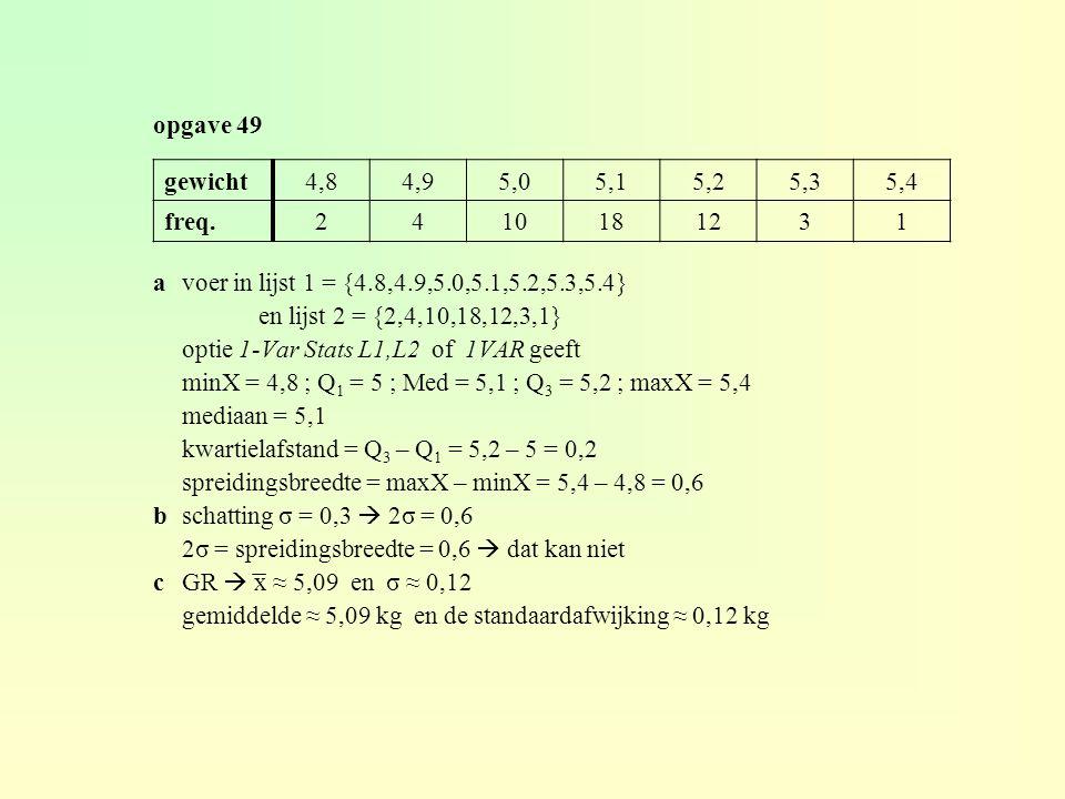 opgave 49 avoer in lijst 1 = {4.8,4.9,5.0,5.1,5.2,5.3,5.4} en lijst 2 = {2,4,10,18,12,3,1} optie 1-Var Stats L1,L2 of 1VAR geeft minX = 4,8 ; Q 1 = 5 ; Med = 5,1 ; Q 3 = 5,2 ; maxX = 5,4 mediaan = 5,1 kwartielafstand = Q 3 – Q 1 = 5,2 – 5 = 0,2 spreidingsbreedte = maxX – minX = 5,4 – 4,8 = 0,6 bschatting σ = 0,3  2σ = 0,6 2σ = spreidingsbreedte = 0,6  dat kan niet cGR  x ≈ 5,09 en σ ≈ 0,12 gemiddelde ≈ 5,09 kg en de standaardafwijking ≈ 0,12 kg gewicht4,84,95,05,15,25,35,4 freq.2410181231