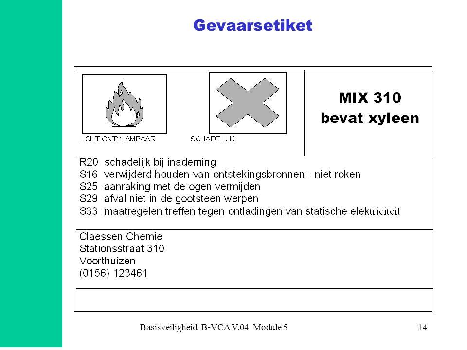 Basisveiligheid B-VCA V.04 Module 515 Gevaarscategorieën explosief (ontplofbaar) zeer licht ontvlambaar licht ontvlambaar ontvlambaar oxiderend zeer vergiftig vergiftig schadelijk bijtend irriterend kankerverwekkend reprotoxisch mutageen sensiliserend milieugevaarlijk