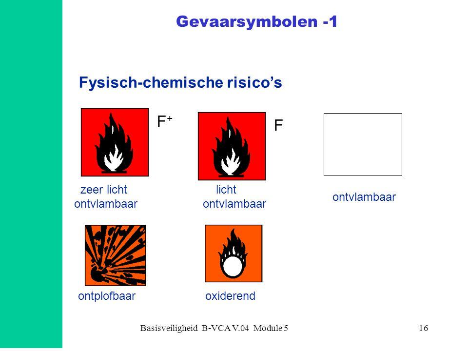 Basisveiligheid B-VCA V.04 Module 516 Gevaarsymbolen -1 Fysisch-chemische risico's ontvlambaar ontplofbaaroxiderend licht ontvlambaar zeer licht ontvl