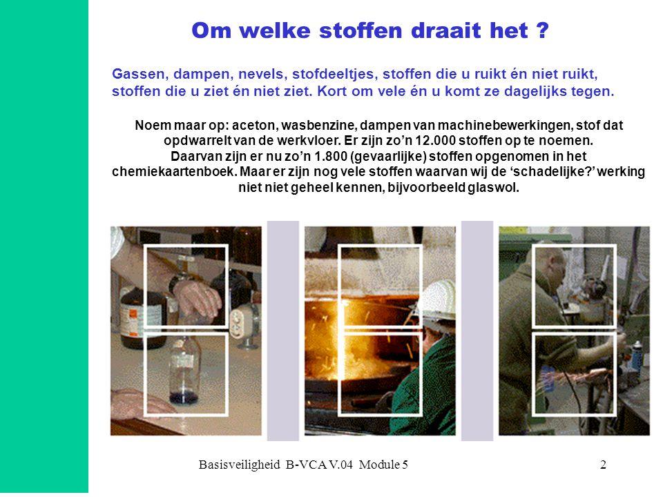 Basisveiligheid B-VCA V.04 Module 52 Om welke stoffen draait het ? Gassen, dampen, nevels, stofdeeltjes, stoffen die u ruikt én niet ruikt, stoffen di