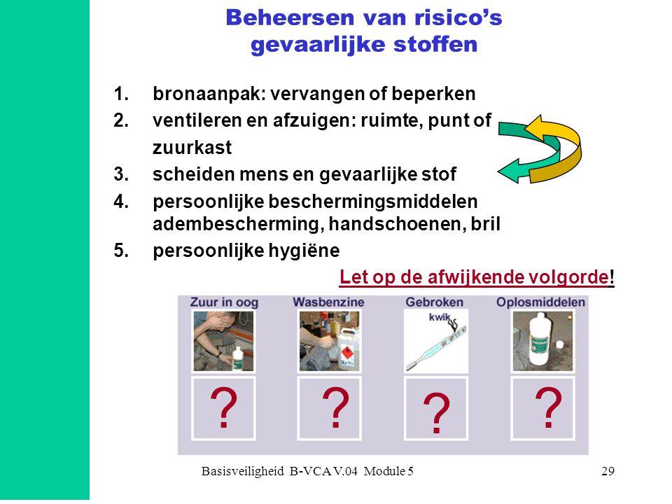 Basisveiligheid B-VCA V.04 Module 529 Beheersen van risico's gevaarlijke stoffen 1.bronaanpak: vervangen of beperken 2.ventileren en afzuigen: ruimte,
