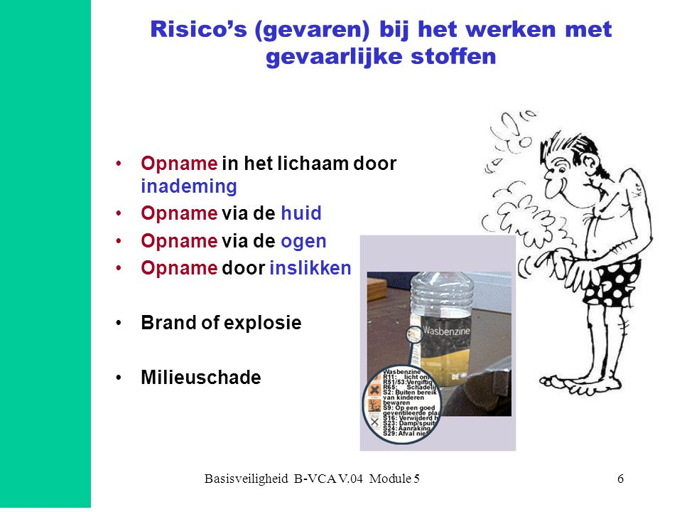 Basisveiligheid B-VCA V.04 Module 56 Risico's (gevaren) bij het werken met gevaarlijke stoffen Opname in het lichaam door inademing Opname via de huid