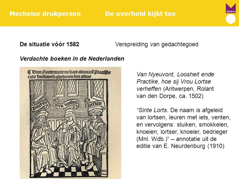 Mechelse drukpersenDe overheid kijkt toe De situatie vóór 1582Verspreiding van gedachtegoed Verdachte boeken in de Nederlanden Van Nyeuvont, Loosheit