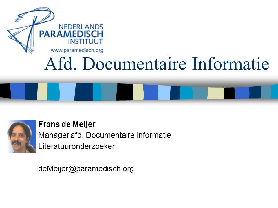 Afd. Documentaire Informatie Frans de Meijer Manager afd.