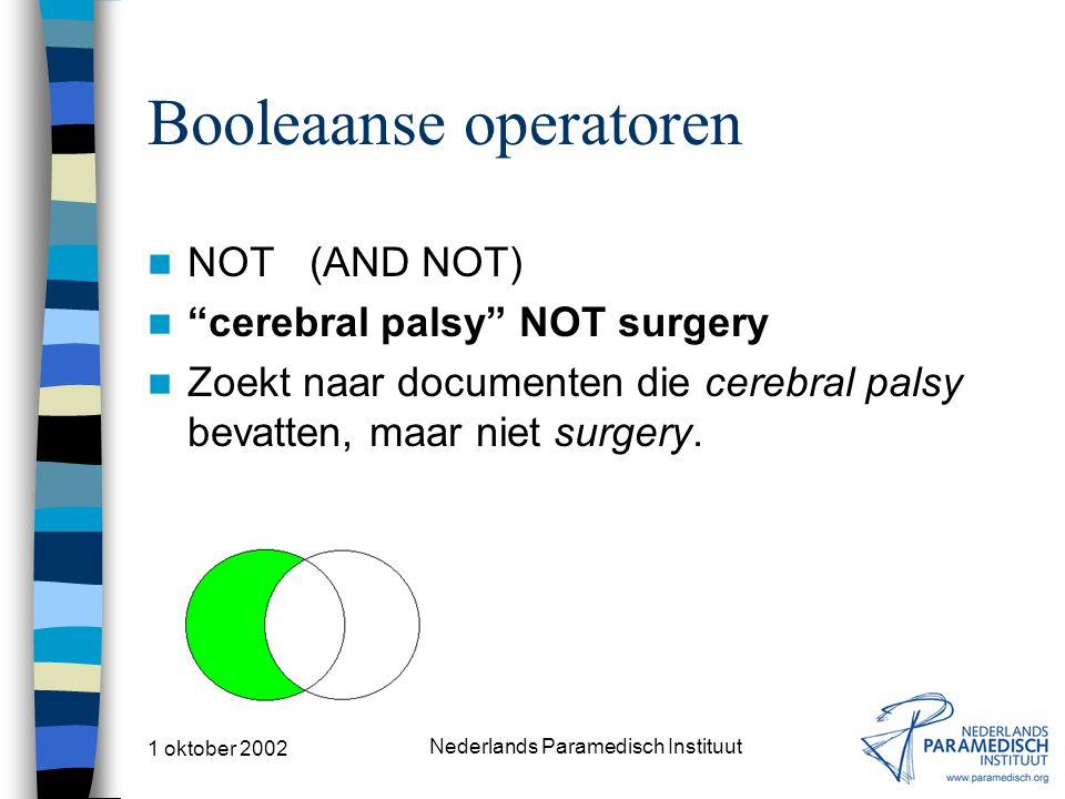 "1 oktober 2002 Nederlands Paramedisch Instituut Booleaanse operatoren NOT (AND NOT) ""cerebral palsy"" NOT surgery Zoekt naar documenten die cerebral pa"