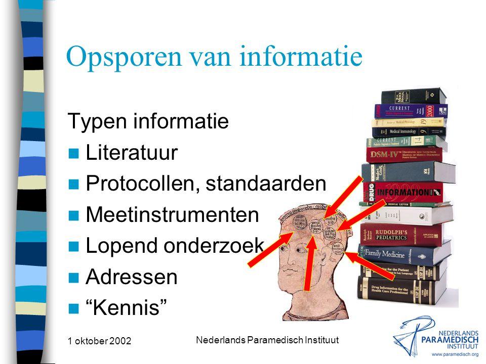 1 oktober 2002 Nederlands Paramedisch Instituut Opsporen van informatie Typen informatie Literatuur Protocollen, standaarden Meetinstrumenten Lopend onderzoek Adressen Kennis