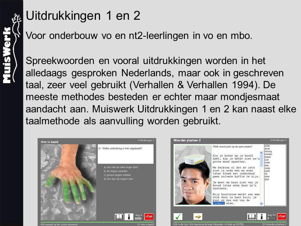 Uitdrukkingen 1 en 2 Het programma Muiswerk Uitdrukkingen 1 bestaat uit 75 oefeningen en 1 diagnostische en evaluerende toets.
