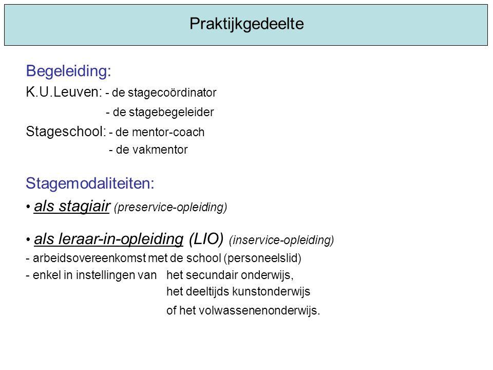 Praktijkgedeelte Stagemodaliteiten: als stagiair (preservice-opleiding) als leraar-in-opleiding (LIO) (inservice-opleiding) - arbeidsovereenkomst met