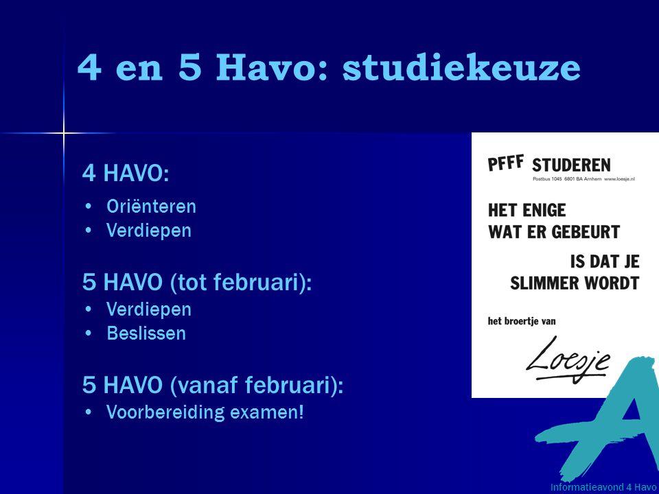 4 en 5 Havo: studiekeuze 4 HAVO: Oriënteren Verdiepen 5 HAVO (tot februari): Verdiepen Beslissen 5 HAVO (vanaf februari): Voorbereiding examen! Inform