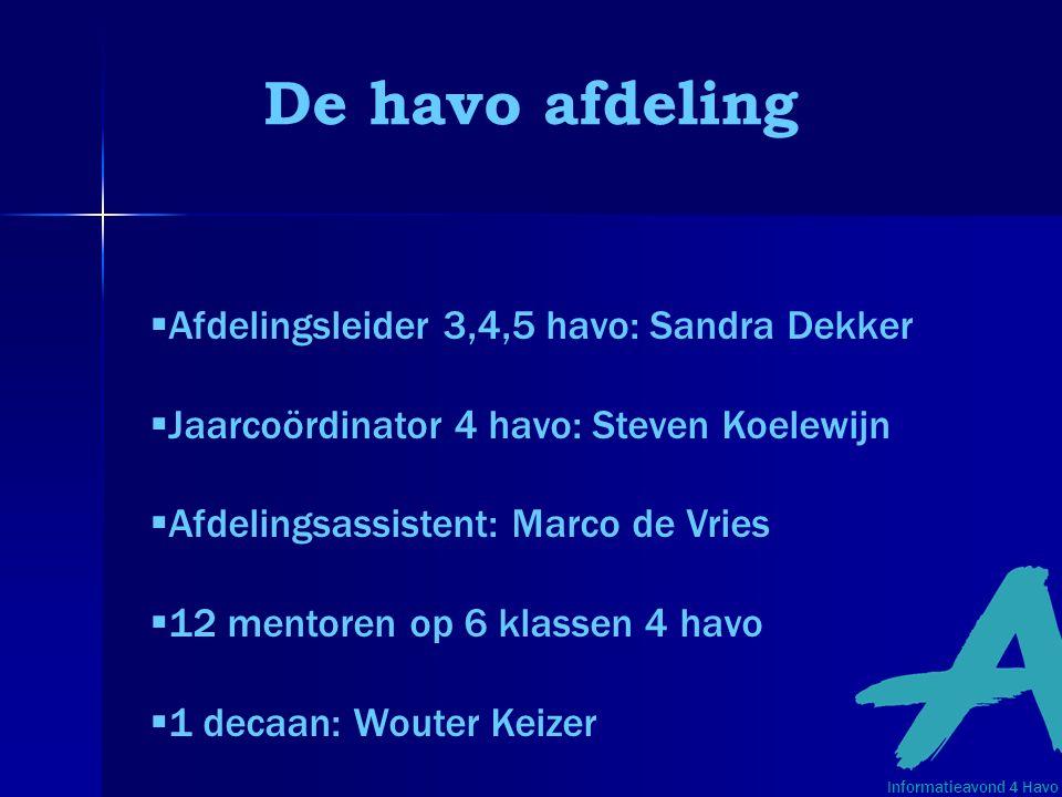 De havo afdeling  Afdelingsleider 3,4,5 havo: Sandra Dekker  Jaarcoördinator 4 havo: Steven Koelewijn  Afdelingsassistent: Marco de Vries  12 ment