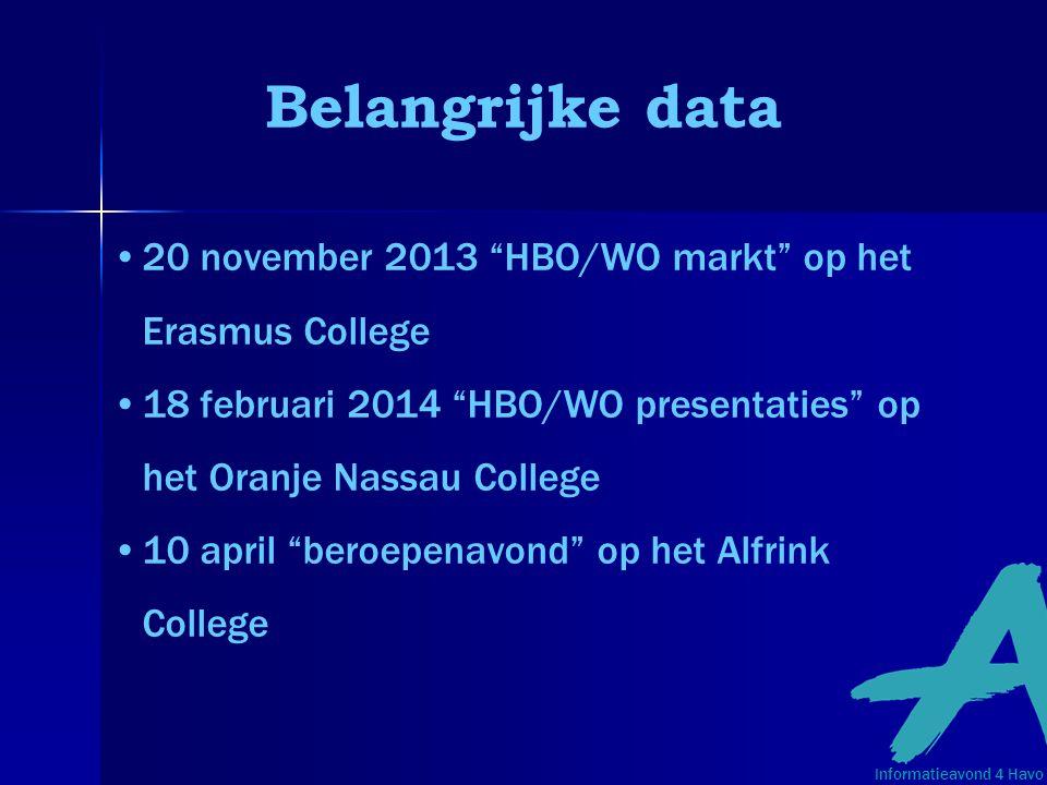 """Belangrijke data 20 november 2013 """"HBO/WO markt"""" op het Erasmus College 18 februari 2014 """"HBO/WO presentaties"""" op het Oranje Nassau College 10 april """""""