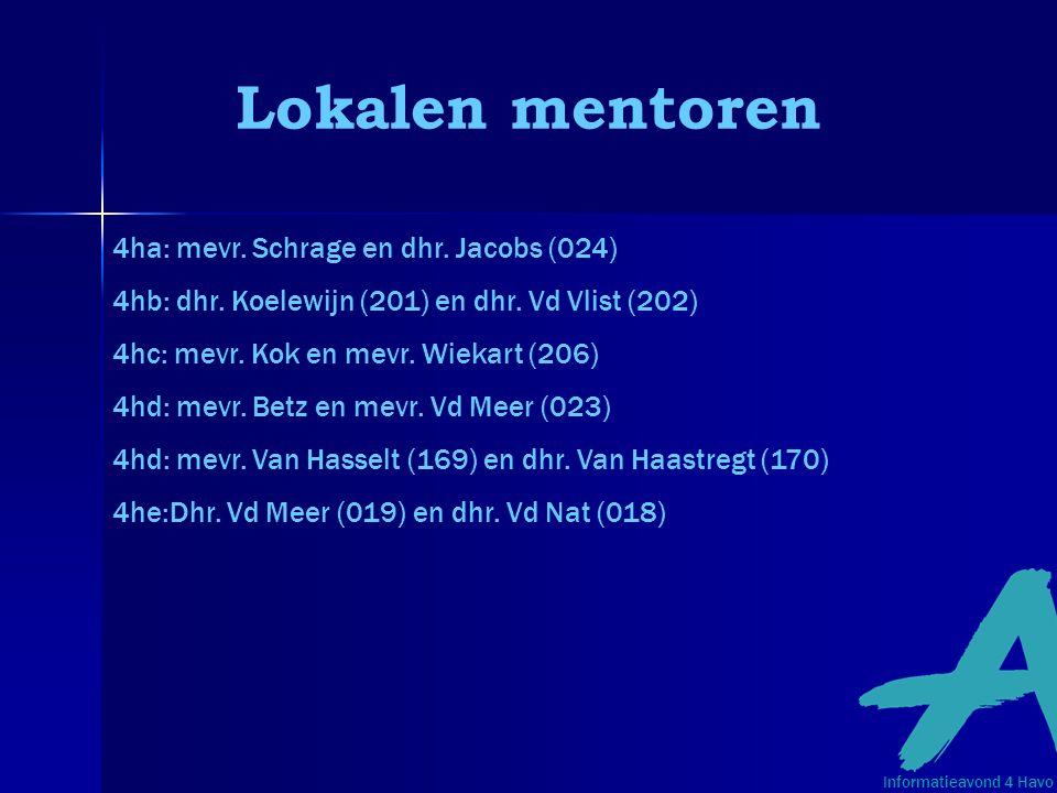 Lokalen mentoren 4ha: mevr. Schrage en dhr. Jacobs (024) 4hb: dhr. Koelewijn (201) en dhr. Vd Vlist (202) 4hc: mevr. Kok en mevr. Wiekart (206) 4hd: m