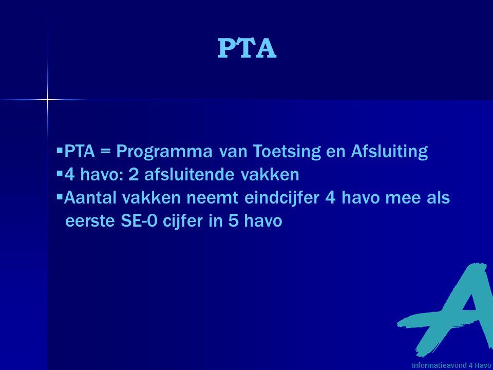 PTA  PTA = Programma van Toetsing en Afsluiting  4 havo: 2 afsluitende vakken  Aantal vakken neemt eindcijfer 4 havo mee als eerste SE-0 cijfer in