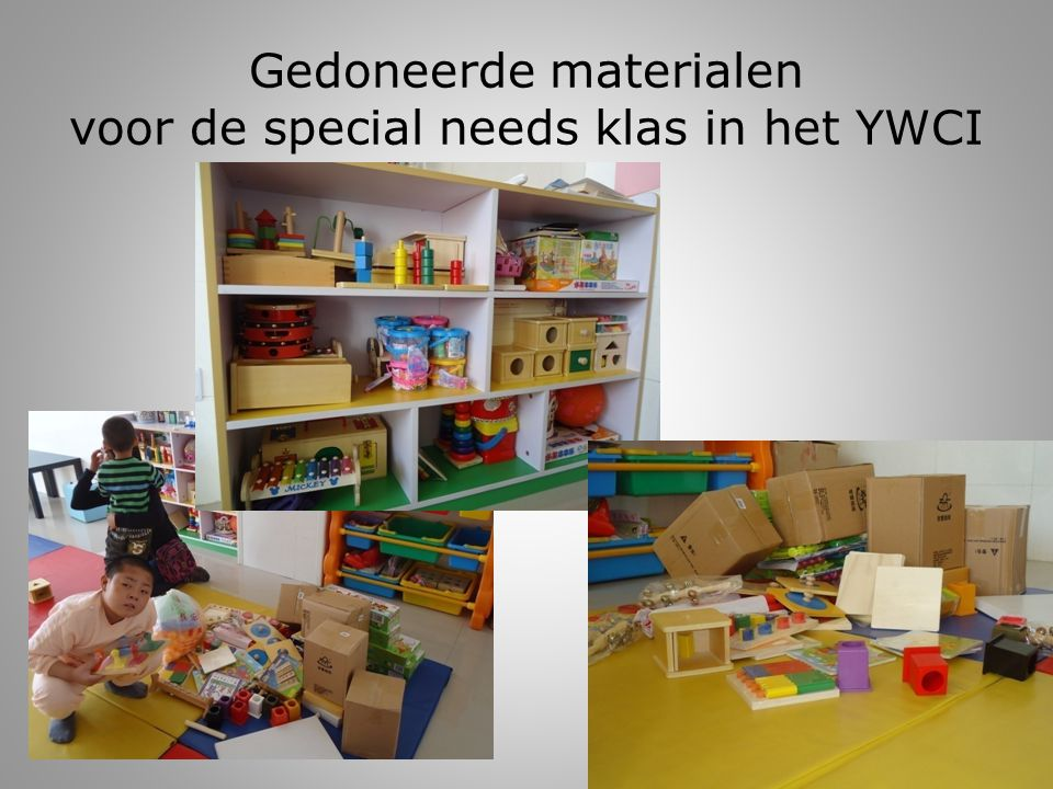 Gedoneerde materialen voor de special needs klas in het YWCI