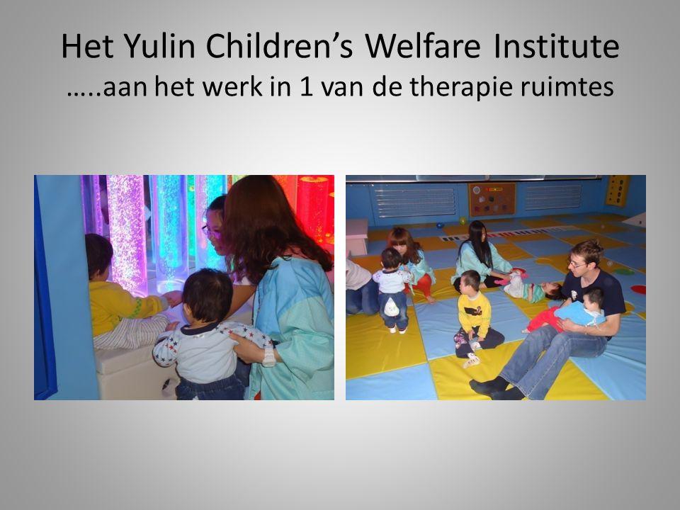 Het Yulin Children's Welfare Institute …..aan het werk in 1 van de therapie ruimtes