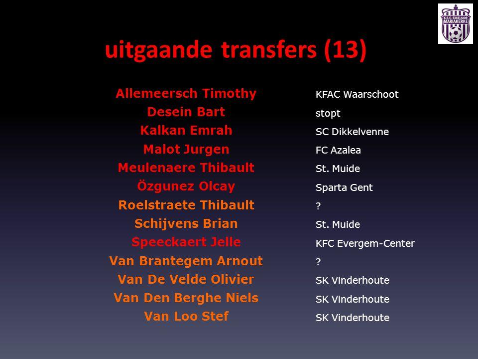 uitgaande transfers (13) Allemeersch Timothy KFAC Waarschoot Desein Bart stopt Kalkan Emrah SC Dikkelvenne Malot Jurgen FC Azalea Meulenaere Thibault