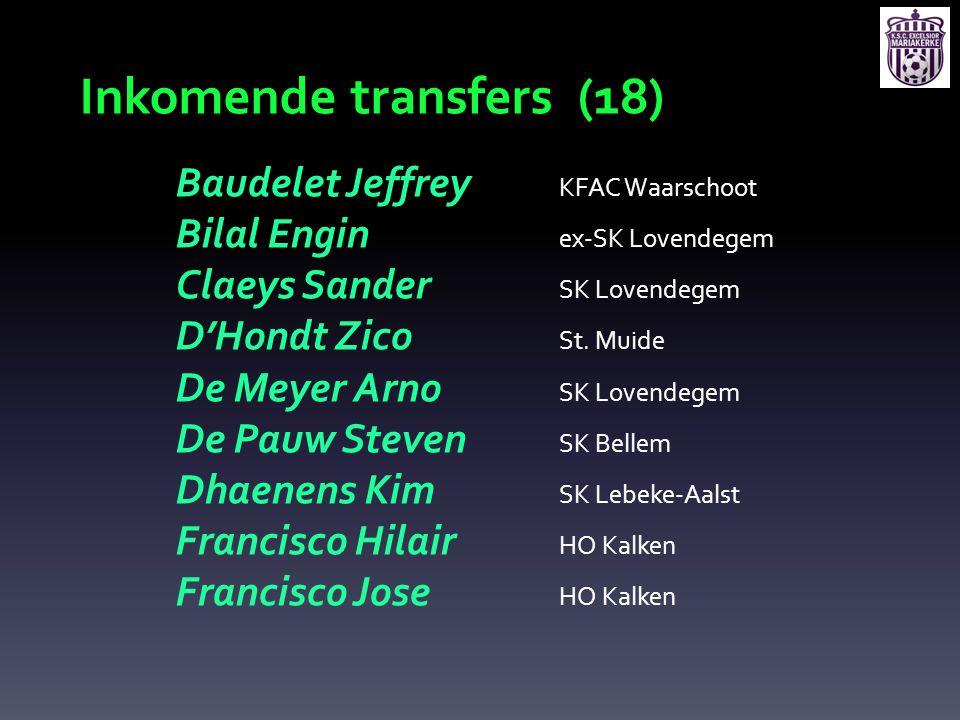 Inkomende transfers (18) Baudelet Jeffrey KFAC Waarschoot Bilal Engin ex-SK Lovendegem Claeys Sander SK Lovendegem D'Hondt Zico St. Muide De Meyer Arn