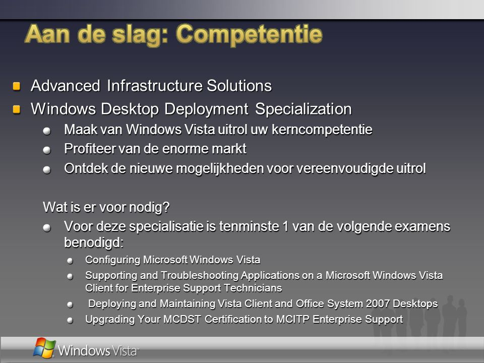 Advanced Infrastructure Solutions Windows Desktop Deployment Specialization Maak van Windows Vista uitrol uw kerncompetentie Profiteer van de enorme m
