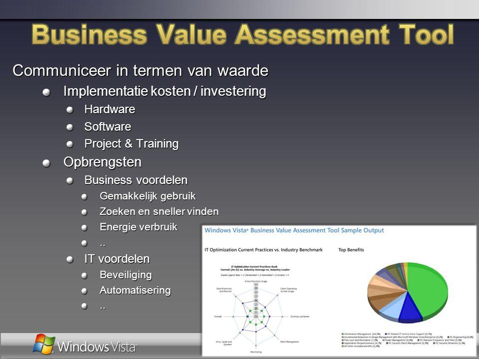Communiceer in termen van waarde Implementatie kosten / investering HardwareSoftware Project & Training Opbrengsten Business voordelen Gemakkelijk geb