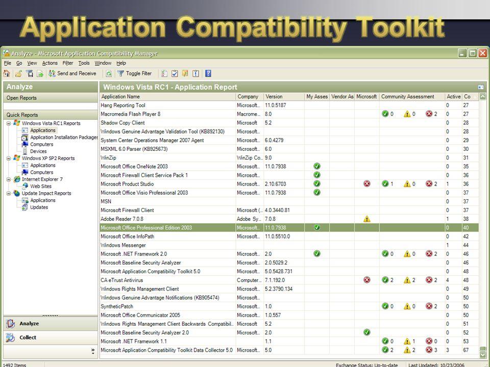 Portfolio overzicht van applicaties. Evaluatie van geschiktheid om deze applicaties te gebruiken met Windows Vista. Centraal beheren van het overzicht