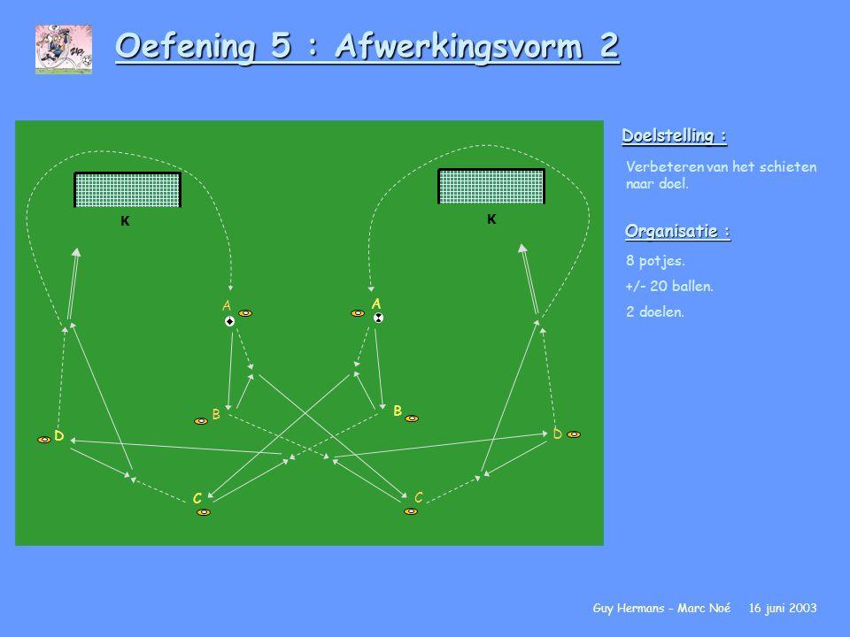 Oefening 5 : Afwerkingsvorm 2 Doelstelling : Verbeteren van het schieten naar doel. Organisatie : 8 potjes. +/- 20 ballen. 2 doelen. Guy Hermans – Mar