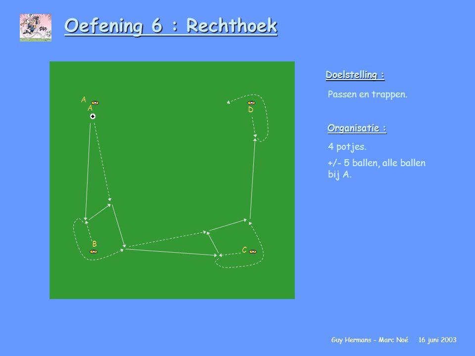 Oefening 6 : Rechthoek Doelstelling : Passen en trappen. Organisatie : 4 potjes. +/- 5 ballen, alle ballen bij A. Guy Hermans – Marc Noé 16 juni 2003