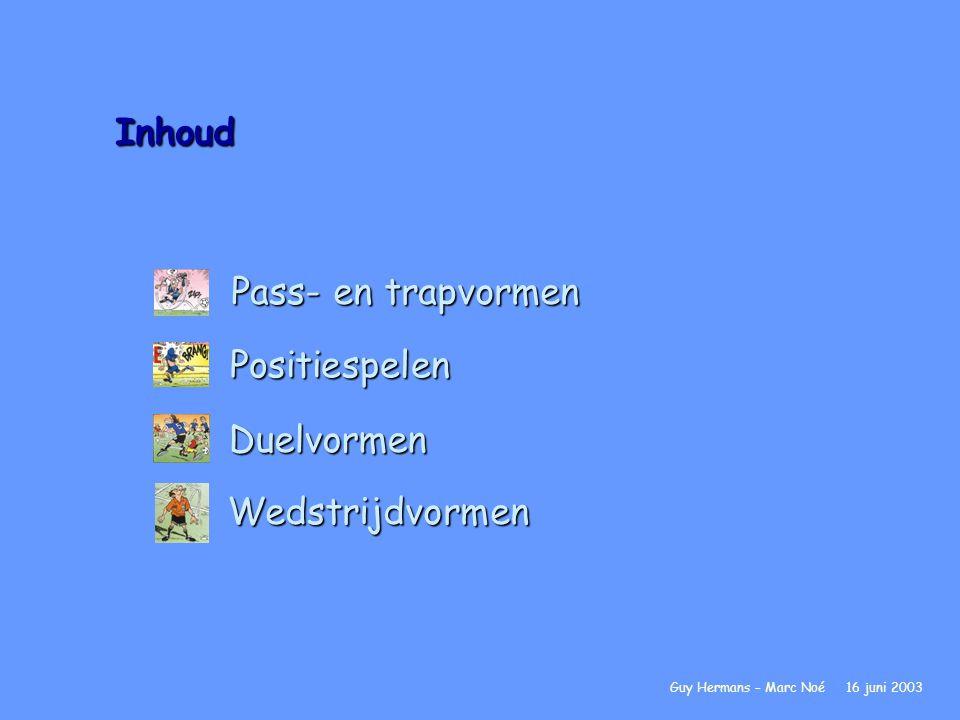 Inhoud Pass- en trapvormen Guy Hermans – Marc Noé 16 juni 2003Positiespelen Duelvormen Wedstrijdvormen