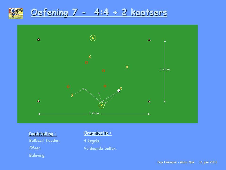 Oefening 7 - 4:4 + 2 kaatsers Doelstelling : Balbezit houden. Sfeer. Beleving. Organisatie : 4 kegels. Voldoende ballen. Guy Hermans – Marc Noé 16 jun