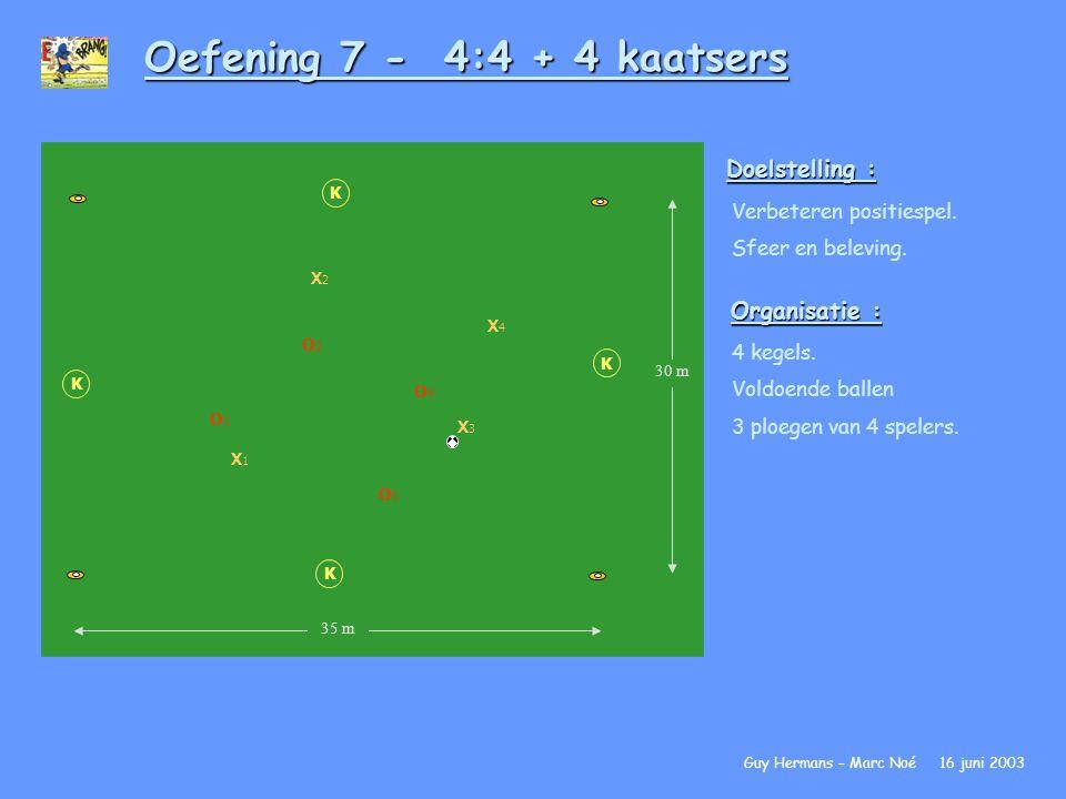 Oefening 7 - 4:4 + 4 kaatsers Doelstelling : Verbeteren positiespel. Sfeer en beleving. Organisatie : 4 kegels. Voldoende ballen 3 ploegen van 4 spele