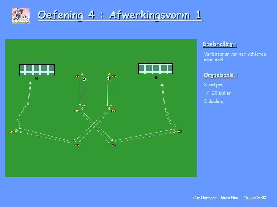 Oefening 4 : Afwerkingsvorm 1 Doelstelling : Verbeteren van het schieten naar doel. Organisatie : 8 potjes. +/- 20 ballen. 2 doelen. Guy Hermans – Mar