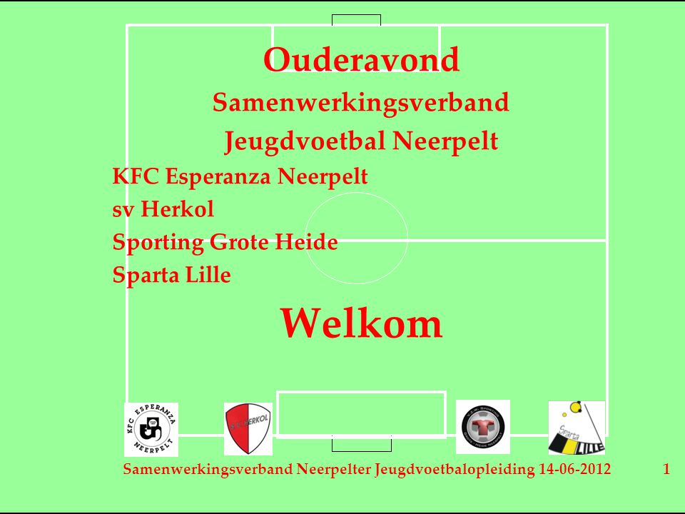 Samenwerkingsverband Neerpelter Jeugdvoetbalopleiding 14-06-2012 1 Ouderavond Samenwerkingsverband Jeugdvoetbal Neerpelt KFC Esperanza Neerpelt sv Her