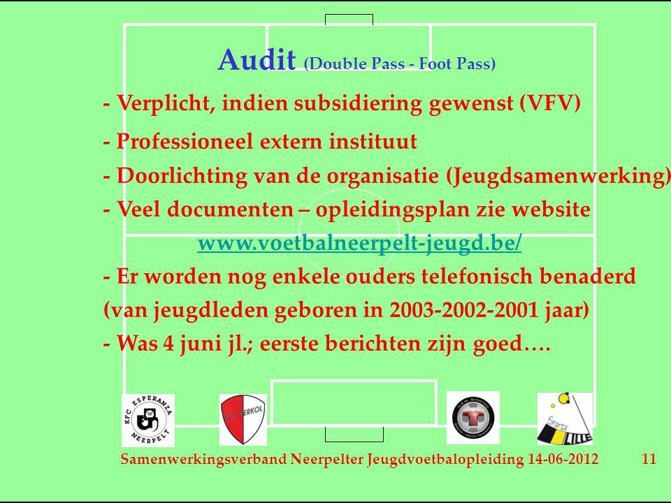 Samenwerkingsverband Neerpelter Jeugdvoetbalopleiding 14-06-2012 11 Audit (Double Pass - Foot Pass) - Verplicht, indien subsidiering gewenst (VFV) - Professioneel extern instituut - Doorlichting van de organisatie (Jeugdsamenwerking) - Veel documenten – opleidingsplan zie website www.voetbalneerpelt-jeugd.be/ - Er worden nog enkele ouders telefonisch benaderd (van jeugdleden geboren in 2003-2002-2001 jaar) - Was 4 juni jl.; eerste berichten zijn goed….
