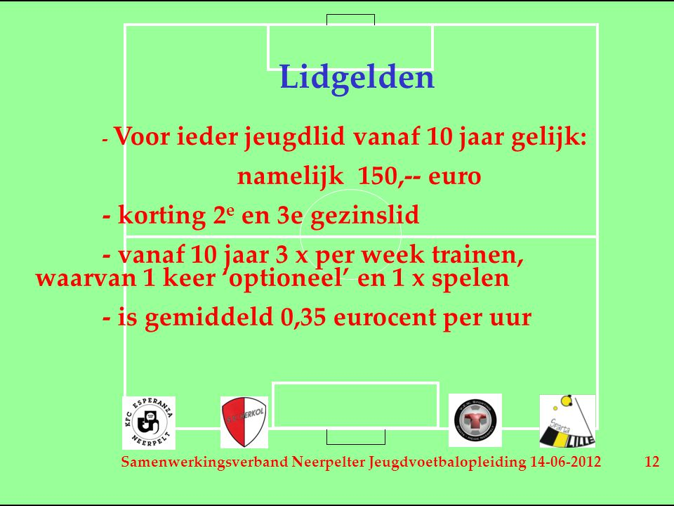 Samenwerkingsverband Neerpelter Jeugdvoetbalopleiding 14-06-2012 12 Lidgelden - Voor ieder jeugdlid vanaf 10 jaar gelijk: namelijk 150,-- euro - korti