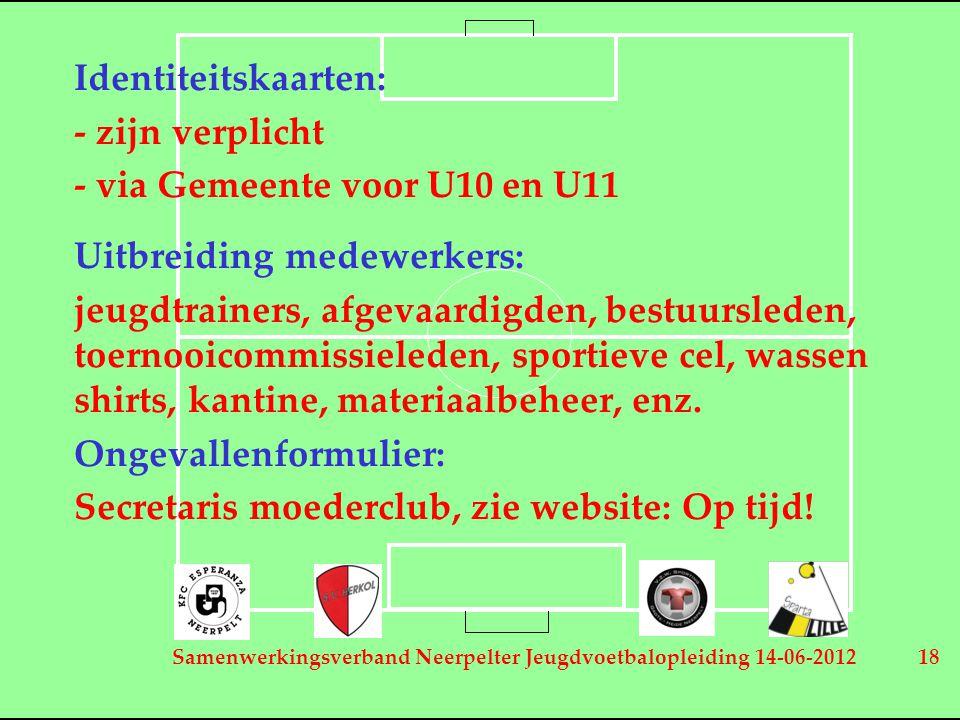 Samenwerkingsverband Neerpelter Jeugdvoetbalopleiding 14-06-2012 18 Identiteitskaarten: - zijn verplicht - via Gemeente voor U10 en U11 Uitbreiding me