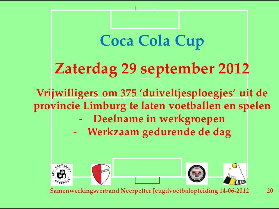 Samenwerkingsverband Neerpelter Jeugdvoetbalopleiding 14-06-2012 20 Coca Cola Cup Zaterdag 29 september 2012 Vrijwilligers om 375 'duiveltjesploegjes' uit de provincie Limburg te laten voetballen en spelen -Deelname in werkgroepen -Werkzaam gedurende de dag