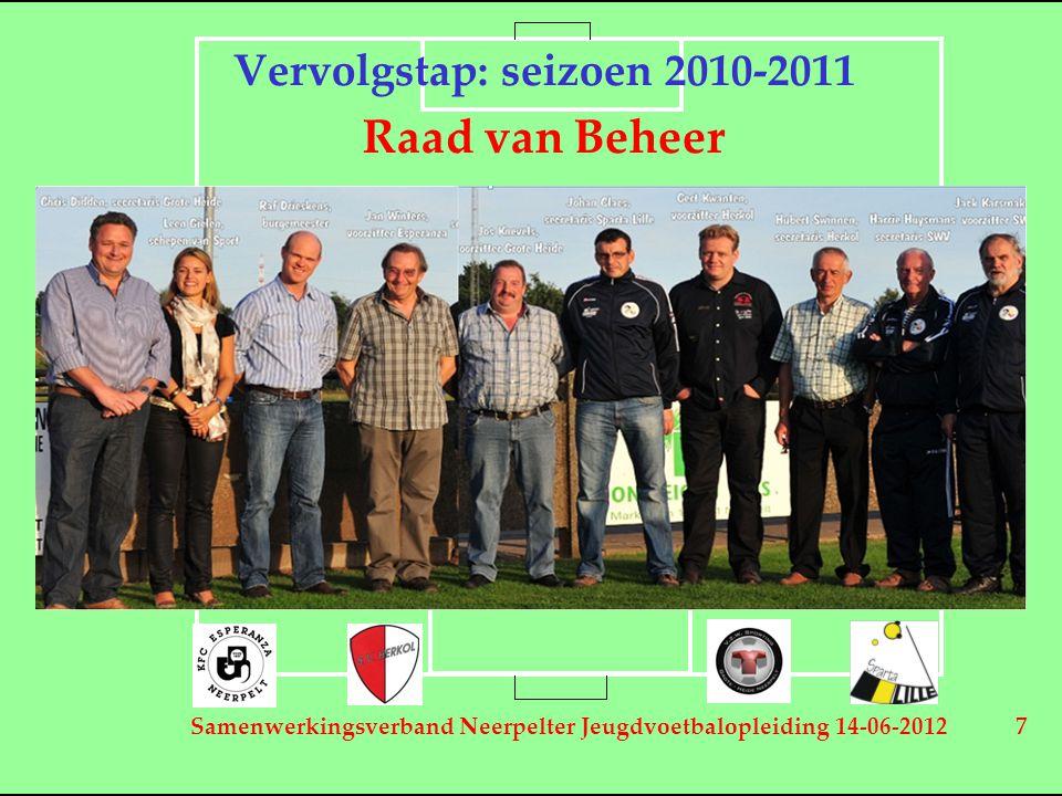 Samenwerkingsverband Neerpelter Jeugdvoetbalopleiding 14-06-2012 7 Vervolgstap: seizoen 2010-2011 Raad van Beheer