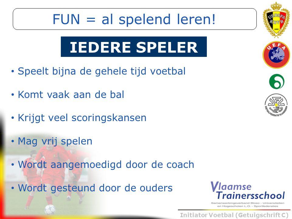 Initiator Voetbal (Getuigschrift C) Speelt bijna de gehele tijd voetbal Komt vaak aan de bal Krijgt veel scoringskansen Mag vrij spelen Wordt aangemoe
