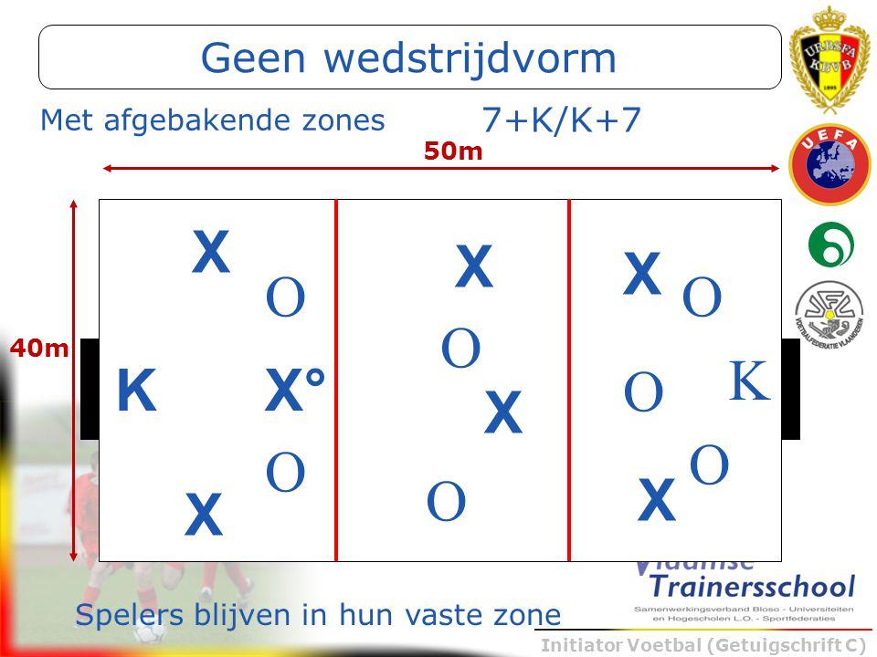 Initiator Voetbal (Getuigschrift C) Met afgebakende zones K X X X X° K O O O O 50m 40m 7+K/K+7 X X O O O X Spelers blijven in hun vaste zone Geen weds