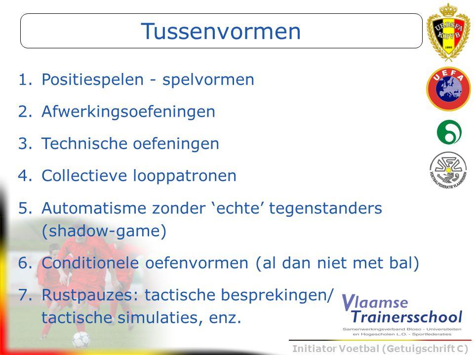Initiator Voetbal (Getuigschrift C) 1.Positiespelen - spelvormen 2.Afwerkingsoefeningen 3.Technische oefeningen 4.Collectieve looppatronen 5.Automatis