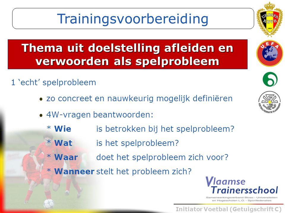 Initiator Voetbal (Getuigschrift C) 1 'echt' spelprobleem zo concreet en nauwkeurig mogelijk definiëren 4W-vragen beantwoorden: * Wieis betrokken bi
